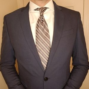 Silver and Blue Striped Perry Ellis Tie